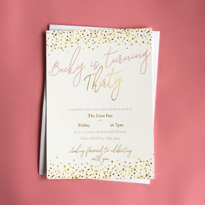 30th invitations all gold