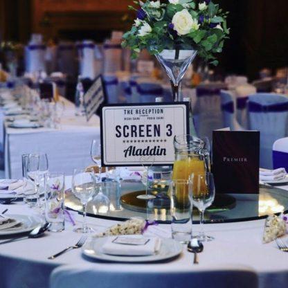 cinema table sign