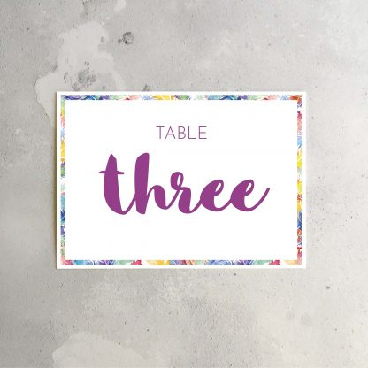 Feathers table signs