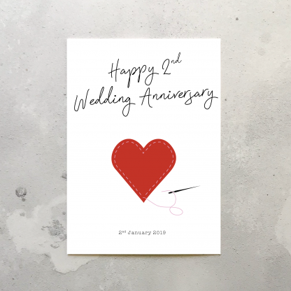 2nd wedding anniversary card