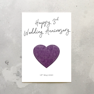 3rd wedding anniversary card